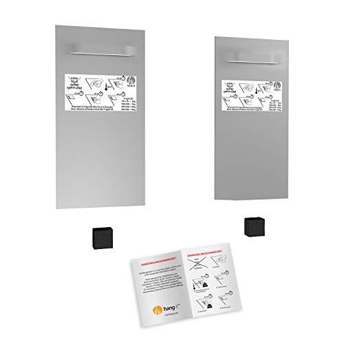 hang-it Spiegel Aufhänger Set L - inkl. 2 200x100 mm Spiegelaufhänger Spiegelhalter und 2 Abstandshalter
