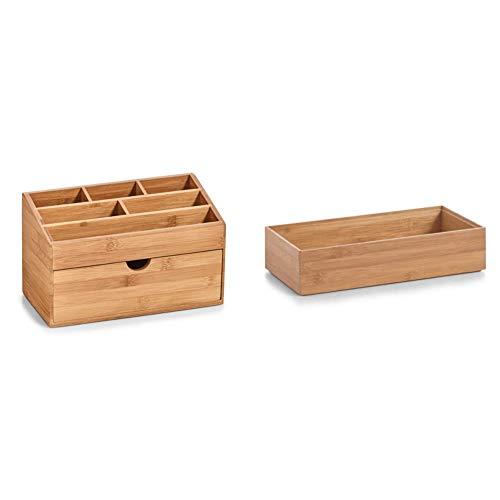 Zeller 25386 Organizer m. Schubfach, Bamboo, ca. 25,4 x 12,5 x 15 cm & Zeller 13333 Ordnungsbox, Bamboo, ca. 30 x 15 x 7 cm