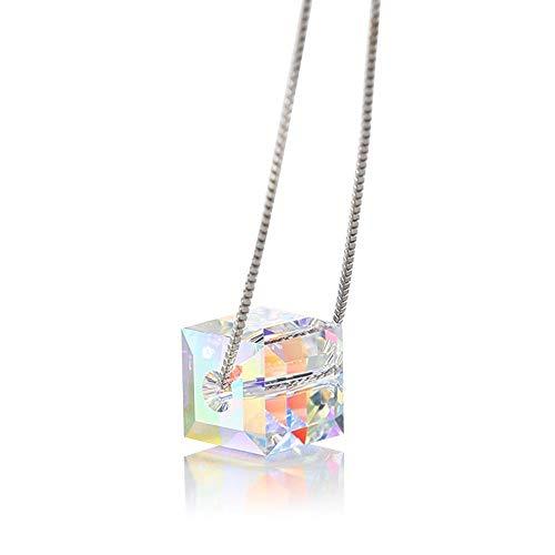 MX YANRR terrón de azúcar de Plata esterlina 925 Collar de Aurora Cubo Colorido Manga Cadena clavícula de Cadena