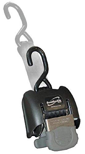 BoatBuckle G2 Stainless Steel Retractable Transom Tie-Down (Black), 1 Pair