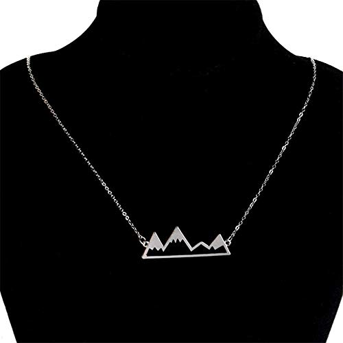 Collar Snowy Mountain Necklace Mountain Jewelry para Entusiastas De La Naturaleza Esquiadores Snowboarders Hikers Campers-Silver