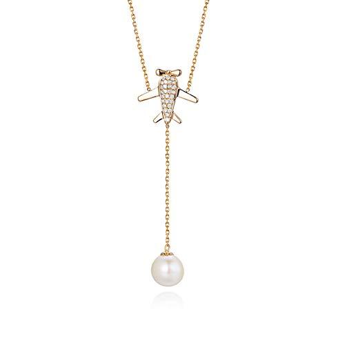 Daesar Damen Kette mit Anhänger Flugzeug mit Diamond und Perle Hochzeit Halskette 18K Rosegold Charms