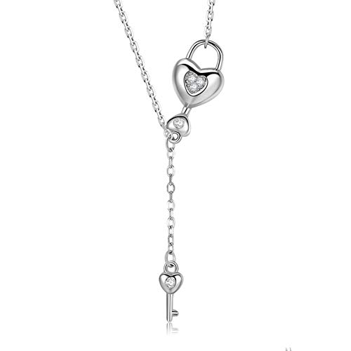 YHDNCG 925 sterling silver necklace heart shaped key pendant chain link necklace for women fashion jewelry gifts