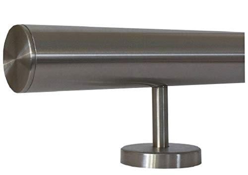 Edelstahlhandlauf Länge 0,3m - 6m aus einem Stück und unterschiedlichen Endstücken zum Auswählen Ø 33,7 mm mit gerade Halter, zum Beispiel: Länge 240 cm mit 3 Halter, Enden mit gerade Kappe