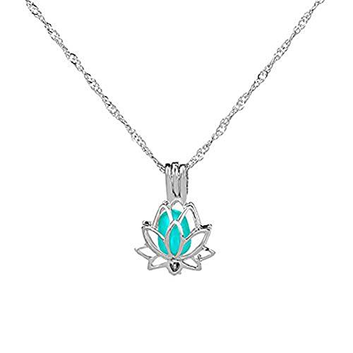 Collana da donna Luminous al buio con luna illuminata, ciondolo a forma di fiore di loto, per donne e yoga e Rame, colore: Azzurro