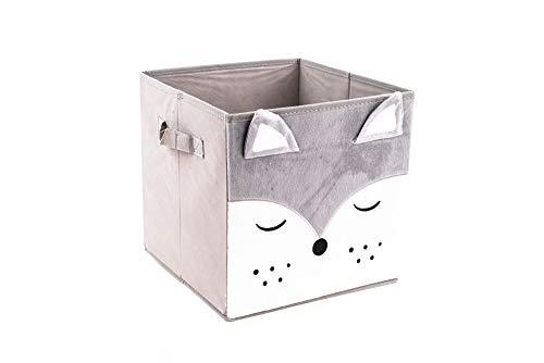 EMAKO Aufbewahrungsbox für Kinderzimmer Spielzeugkiste Faltbox Stoff Fuchs Braun 29 x 29 cm (Fuchs)
