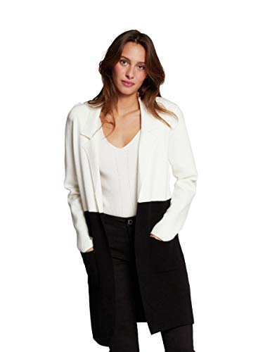 Morgan Gilet Long Color Block Mirabel Cardigan Sweater, Noir/Ivoire, TL Womens