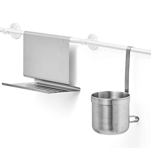 AMARE Tablet Holder and Spice Container, Stainless Steel, Silver, Normal