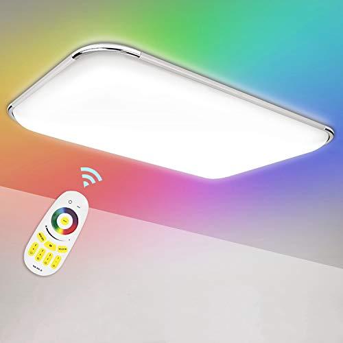 Hengda 48W RGB Deckenleuchte LED Dimmbar Farbwechsel Deckenlampe mit Fernbedienung, Lampe für Wohnzimmer Schlafzimmer Küche, Einstellbare Farbtemperatur Neutralweiß Kaltweiß Warmweiß