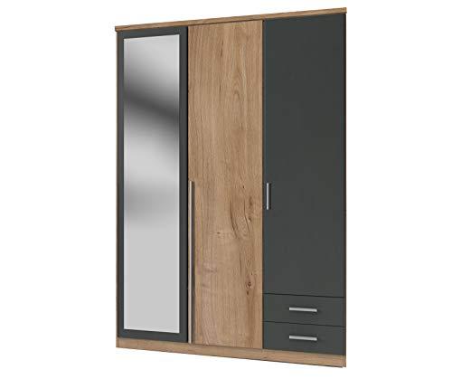 lifestyle4living Kleiderschrank mit Spiegel-Tür, Eiche, Graphit, 135 cm   Drehtürenschrank mit 3 Türen, 2 Schubladen, 1 Kleiderstange, 3 Einlegeböden im modernen Stil