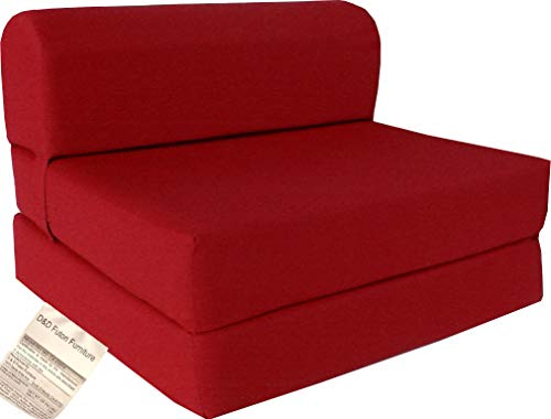 D&D Futon Furniture Red Sleeper Chair Folding Foam Bed Sized 6 X 32 X 70, Studio Guest Foldable Chair Beds, Foam Sofa, Couch, High Density Foam 1.8 Pounds.