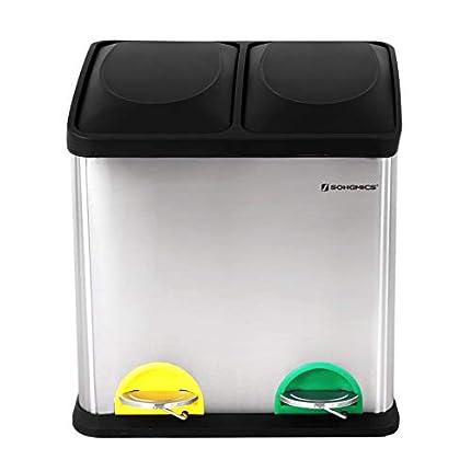 SONGMICS Cubo de Reciclaje, Residuos de 30 litros, 2 Cubos de Basura de 15 litros, con Cubos Internos, Pedales Codificados por Colores, para la Cocina, Sala de Estar, Plata y Negro LTB30L