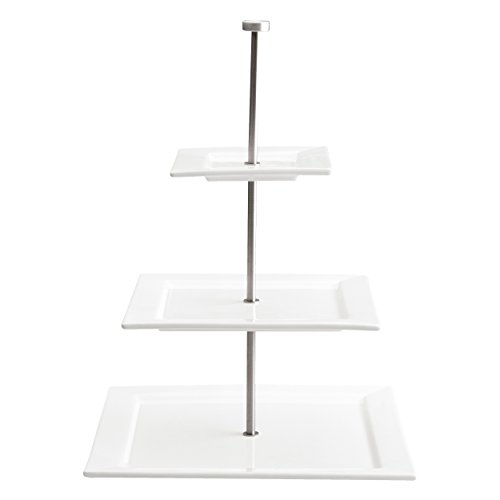 ASA 91410005 Etagere Quadrato -3-stufig - Quadratisch -Porzellan - weiß - Höhe 45 cm Ø 16/25,5/34 cm