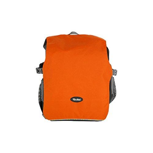 Rollei Traveler Backpack Canyon S - Mochila para cámara 2-en-1, incl. Inserto separado y protección contra lluvia - Tamaño S (10 Litros) - Sunrise (Gris/Naranja)