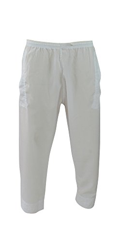 Desert Dress Hose Herren weiß Thobe Unterteil islamischer Pyjama Salwar Wüste Araber Afghane Wüstenbekleidung - Weiß, L