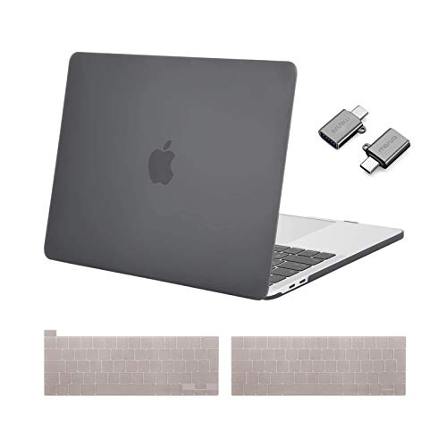 MOSISO MacBook Pro 13 inch Case 2016-2021 Release A2338 M1 A2289 A2251 A2159 A1989 A1706 A1708, Plastic Hard Shell &Keyboard Cover &Type C Adapter Compatible with MacBook Pro 13 inch, Gray