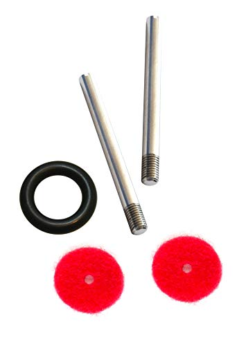 2 Pieces Metal Vintage Domestic Home Sewing Machine Screw-in Spool Pins + Bobbin Winder Tire + Red Felt Pad Thread Holder Wire Pole Spare Part Fits Singer, Kenmore and Japanese Made