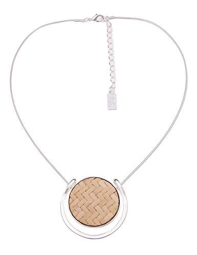 Leslii Damen-Kette Country Style Bast-Kette Natur Kurze Halskette geflochten beige Modeschmuck-Kette in Silber Beige