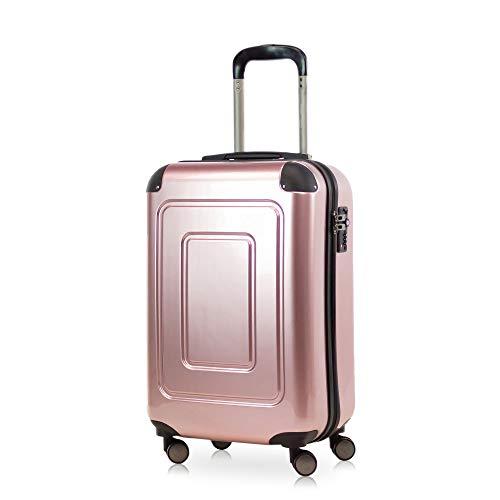 Happy Trolley - Lugano Handgepäck Kabinentrolley Bordgepäck Hartschalen-Koffer Trolley Reisekoffer, sehr leicht, TSA, 55 cm, 40L, Rose Gold +Badehandtuch