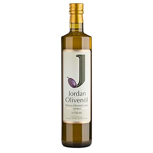 Jordan Olivenöl - Natives Olivenöl Extra von der griechischen Insel Lesbos - traditionelle Handernte - Kaltextraktion am Tag der Ernte - Elegante schmale Flasche aus Glas mit Ausgießer - 0,75 Liter