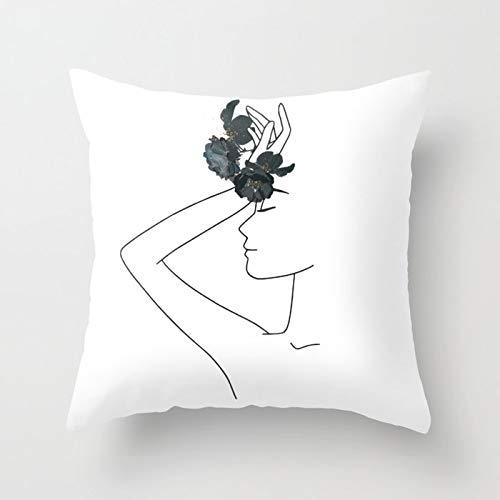 PPMP Funda de cojín de línea mínima Abstracta boceto Funda de Almohada Decorativa de sofá para el hogar Funda de cojín Funda de Almohada para arrojar A1 45x45cm 1pc