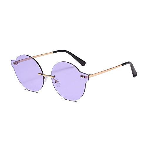 DLSM Gafas de Sol sin Montura de Moda Mujer Claro Océano Lente Ejerna Vintage Oval Sun Glasses Hombres Sombras UV400 Adecuado para la conducción al Aire Libre de la Fiesta-Púrpura