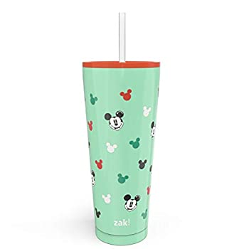 Zak Designs Disney Mickey Mouse Vacuum Insulated Stainless Steel Travel Tumbler with Splash-Proof Lid Includes Reusable Plastic Straw and Fits in Car Cup Holders  18/8 SS 25 oz Sure Thing
