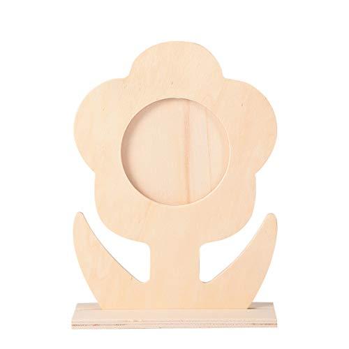 EXCEART 5 Stück Unvollendete Holz Fotorahmen Leer Holz Bilderrahmen Blume Geformte Malerei Displayhalter für DIY Handwerk Büro Home Dekoration