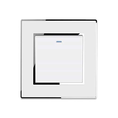 Interruptor de luz 1 Gang 1 Way Panel acrílico de lujo de nueva llegada con interruptores de pared con botón pulsador de borde plateado 16A AC110-250V White Silver