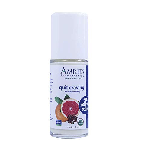 Amrita Aromatherapy Quit Craving Roll-On Relief, Natural Craving Control, Organic Lotion Base With Essential Oils Of Helichrysum, Pink Grapefruit, Spearmint, Lime, Bitter Orange & more, 30ML