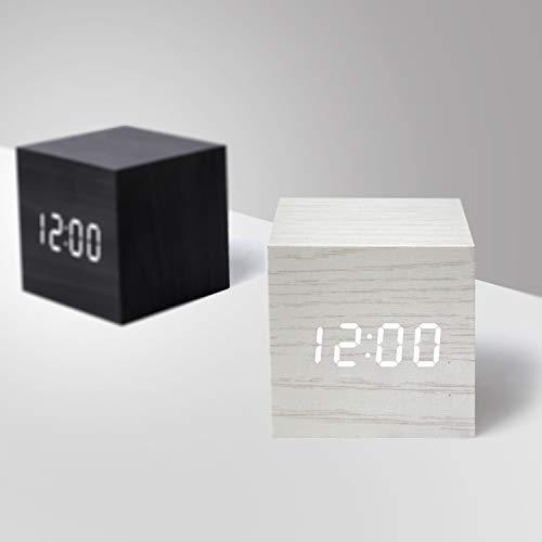 Kiwaly Reloj despertador digital de madera con luz LED multifuncional y moderno cubo, muestra la fecha y la temperatura para el hogar, la oficina de viaje (blanco)
