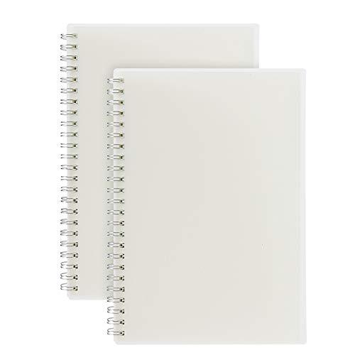 RIANCY - Taccuino con copertina rigida a spirale (2 pezzi), quaderno a spirale, pagine vuote, carta riciclata, formato A5, 210 x 140 mm, 120 pagine senza righe, 60 fogli A5 Blank Paper