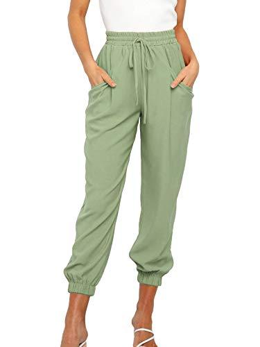 MLEBR Womens Slacks Spring Baggy Leisure Work High Elastic Waistband Drawstring Home Lounge Trousers Pants Joggers Cuff Pants Green XXL