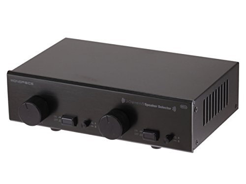 Monoprice 108231 2-Channel A/B Speaker Selector - Black with Volume Control, Built in Independent Volume Controls, Accepts Wire Gauges Up to 14AWG