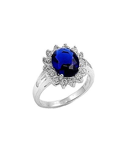 iJewelry2 - Anello di fidanzamento Kate Middleton, con zaffiro blu e zirconia cubica e Argento, 57 (18.1), cod. Pk-royal-8