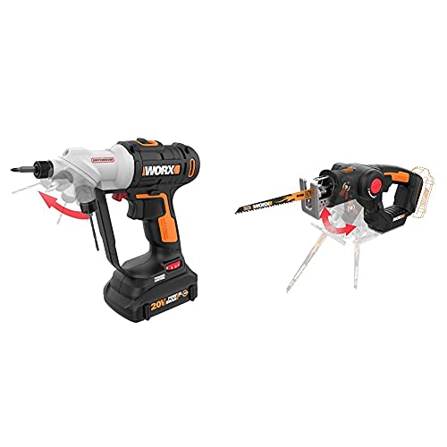 WORX Switchdriver 2-in-1 Cordless Drill and Driver & WX550L.9 20V AXIS 2-in-1 Reciprocating Saw and Jigsaw with Orbital Mode, Variable Speed and Tool-Free Blade Change (TOOL ONLY)