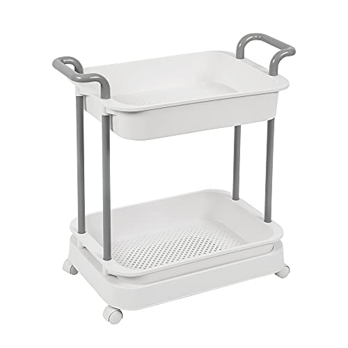 Rolling Cart with Handles Rolling Utility Cart Storage Cart Organizer Trolley Service Cart Mesh Baskets Storage Shelves Mobile Utility Shelving Tower Rack for Kitchen Bathroom Bedroom (2-Tier)
