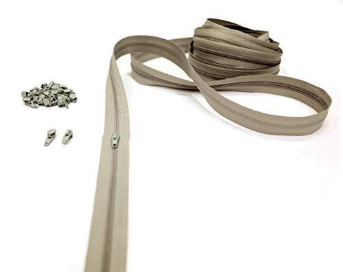 artefizio Cremalleras por Metros para Coser, Cremallera Continua, 19 Colores, Zip de Metal, 7 Longitudes, 4mm, 100% poliéster < > Made in Italy (2 m + 5 Deslizadores, Beige)