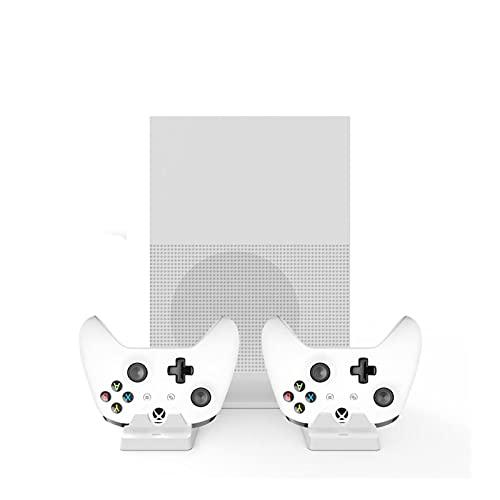 MKCUXC Controladores Xbox One S Console Soporte Vertical Ventilador de enfriamiento + Estación de Carga Dual Controlers + Paquete de baterías Dual 600mAh ENW60X610 Controladores de conmutación
