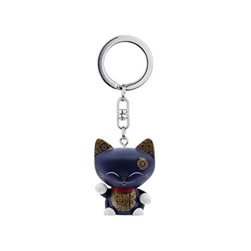 MANI THE LUCKY CAT Porte clé Chat Porte Bonheur Marine foncé Collier Rouge