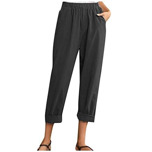 Letdown(TM) Women Cotton Linen Pants Pure Color Elastic Waist Cropped Pants High Waist Casual Loose Fashion Trouser
