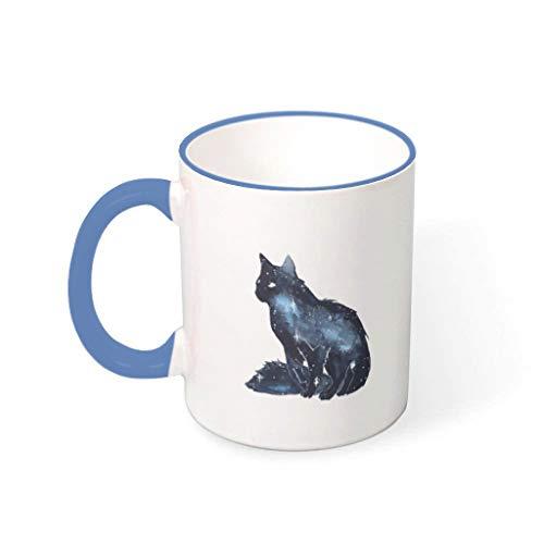 Lind88 11 Ounce Galaxy Cat koffiebeker met handvat Porselein gepersonaliseerde beker - Satrry Sky Cat vrienden aanwezig, pak voor kinderen gebruik