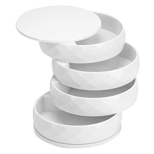 01 Caja de Almacenamiento de joyería, Caja de joyería de tamaño pequeño para Guardar Anillos, Pendientes, Pulsera(Blanco)