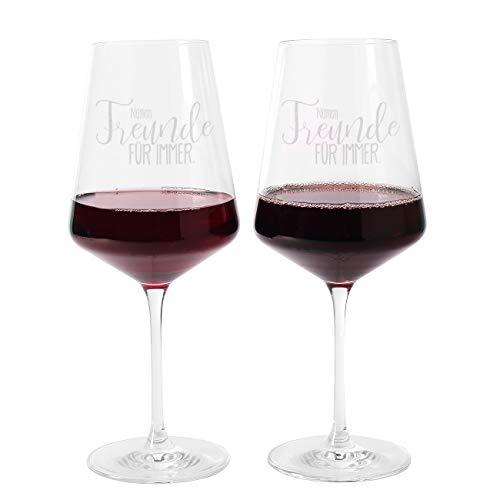 Herz & Heim® Leonardo Weinglas mit Gravur für die beste Freundin - Freunde für Immer - mit Ihren persönlichen Namen