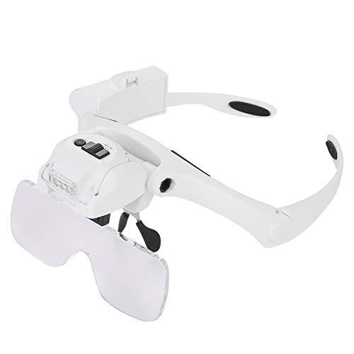 DERCLIVE Lupa de Montaje en Cabeza de 1.2X a 4.5X con Luces Gafas de Auriculares con Aumento para Leer La Reparación de Relojes