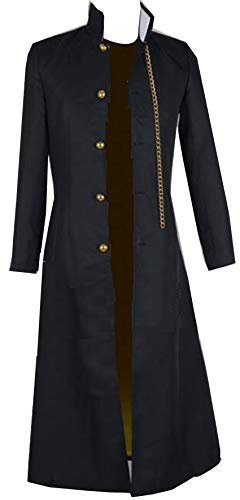 Nsoking Bizarre Adventure Jotaro Kujo Cosplay Costume Black Coat Jacket Halloween Party Outfits Custom (Medium, 01 Mens)