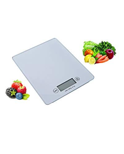 OHMEX OHM-BAL-7001KTC - Balance de Cuisine Tactile - Mesure de Haute Précision - Capacité Max 5 Kg - Coloris Blanc