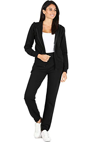 RouA Women's 2 Piece Outfits – Active Sweatsuit Zip-Up Hoodie Jacket Sweatpants French Terry Jogger Pants Tracksuit Set Black (S)