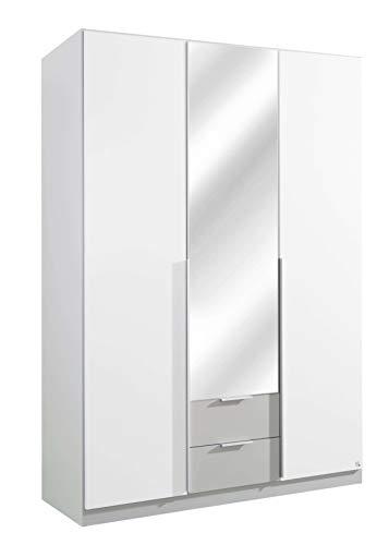 AVANTI TRENDSTORE - Texo - Armadio ad Ante a Battente e con Specchio, in Bianco Alpino e Grigio Seta. Disponibile in 2 Diverse Misure (Lap 136x197x54 cm)