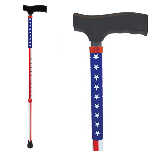 Carex USA Flag Derby Cane - American Flag Cane - Red, White, Blue Walking Cane, Height Adjustable